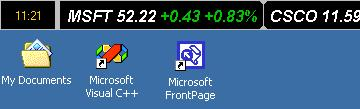Stock Ticker Application Bar Screen shot